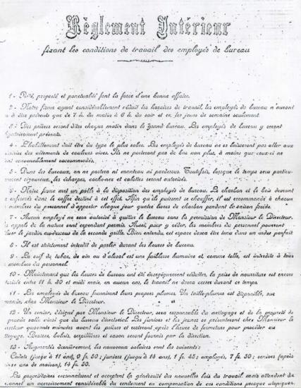 Règlement fin XIXe (© Vallée des forges)